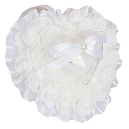 Cuscino per FEDI Nuziali Rose Cuscino Anello di Nozze Cuore Cuscino Anello Romantico Cuscino Anello in Raso Accessori per FEDI Nuziali Bianche Nuziale Fiori Cuscino Cuscino per Anelli di Fiori