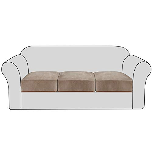 Velvet Stretch Couch Cushion Cover Plush Cushion Slipcover for Chair Loveseat Sofa Cushion Furniture Protector Seat Cushion Sofa Cover with Elastic Bottom Washable (3 Packs, Taupe)