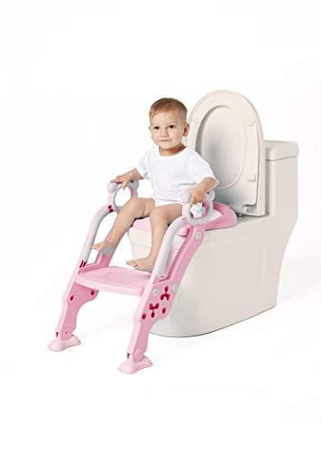 GUTI Riduttore WC con Scaletta Dotata di Scalino Resistente, largo e antiscivolo, cerchione morbido, Kit Toilette Trainer Step Up con Cuscino Tenero Modello Universale (Rosa)
