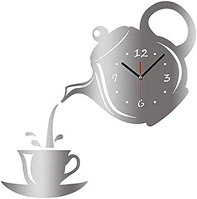 Nazaka | Wall Clock | 1 Piece Teapot Wall Clock Watch Mirror Coffee Cup Wall Watch