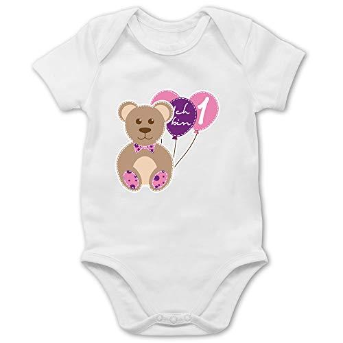 Shirtracer Geburtstag Baby - Ich Bin 1 Mädchen Bär Luftballons Erster - 6/12 Monate - Weiß - Body mädchen 1 - BZ10 - Baby Body Kurzarm für Jungen und Mädchen