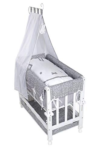 roba Babysitter Lit bébé 3 en 1 miffy laqué blanc utilisable comme lit d'appoint pour lit parental, lit et banc avec matelas, linge de lit, coutil et ciel de lit, 4 roulettes de frein