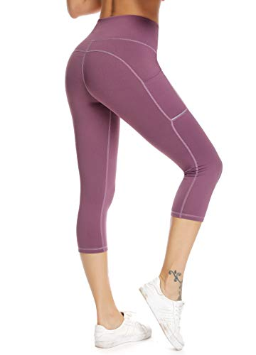 Olacia Womens High Waisted Leggings with Pockets Yoga Pants Workout Leggings Athletic Capris Tummy Control Running Pants,Light Purple,Large