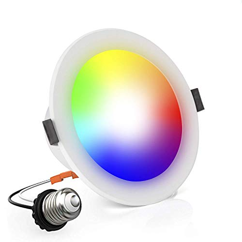 OYOCO LED Smart Retrofit Recessed Downlight Lighting Color Changing and Dimmable 10W(100 Watt Equivalent)4-Inch Works with Amazon Alexa and Google Assistant (Adjustable 16 Million Colors)