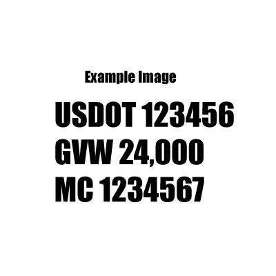 Set of 2 - Custom Design, for - USDOT, MV Carrier, CA Number, GVW, Die Cut Decal Sticker Decal, Windows, Cars, Trucks, Boats, CMV