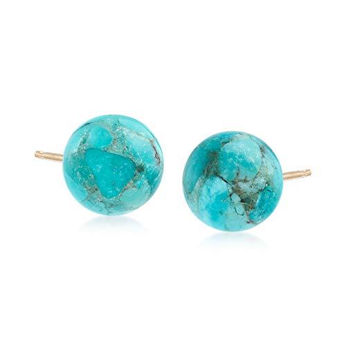 Ross-Simons 10mm Turquoise Bead Stud Earrings in 14kt Yellow Gold