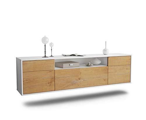 Dekati Lowboard Chesapeake hängend (180x49x35cm) Korpus Weiss matt | Front Holz-Design Eiche | Push-to-Open