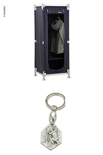 Zisa-Kombi Kleiderschrank ModuCamp Modul 1, 152x62x49cm, schwarz/blau (932988925911) mit Anhänger Hlg. Christophorus