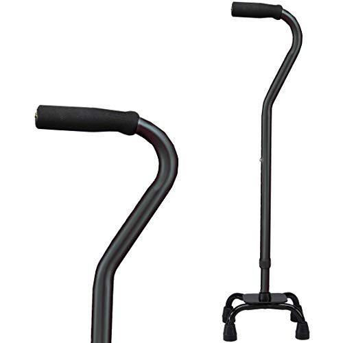 Carex Health Brands Quad Cane with Small Base - Adjustable Height Quad Cane and Walking Stick with Small Base - Holds Up to 250 Pounds, Black, Universal