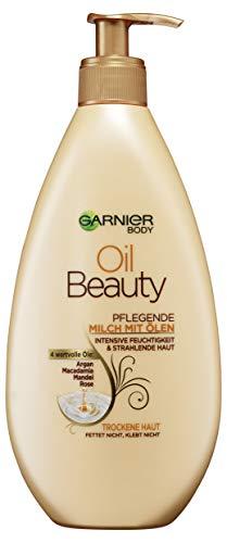 Garnier Oil Beauty voedende oliemelk, rijke bodylotion met arganolie, amandelolie, rozenolie en macadamia, 400 ml