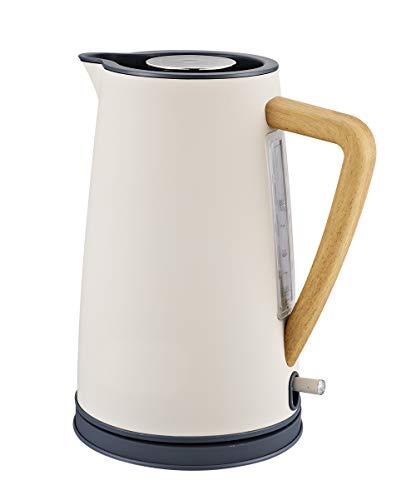 NBWS Elektrische theepot met houten handvat, 1,7 liter, waterfilter van mat rubber, sluit automatisch de afneembare basis 1.7L Crèmekleur