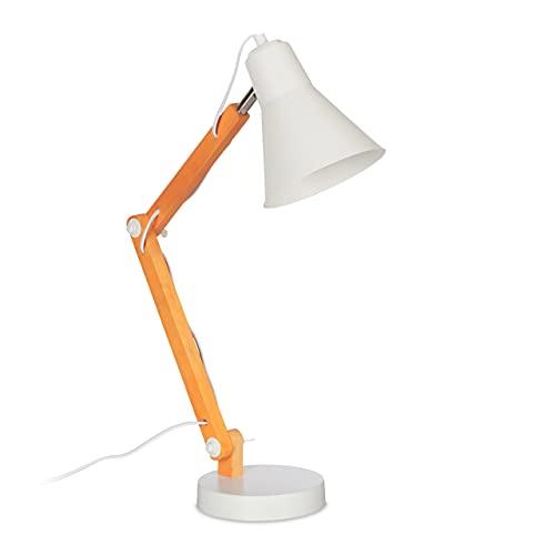 Relaxdays Lámpara de escritorio retro de madera, brazo articulado, pantalla orientable, E27, lámpara de mesa, natural/blanco