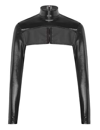 iixpin Damen Metallic Crop Top Brustfrei Oberteile Mini T-Shirt Langarm Unterhemd Top Stehkragen Bluse Nachtwäsche Clubwear Schwarz One Size