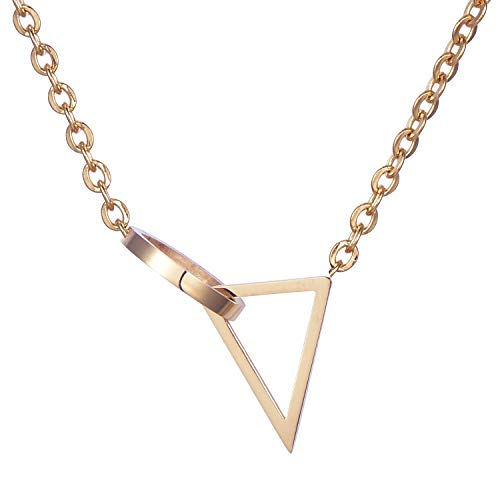 Morella Damen Halskette Dreieck mit Kreis Anhänger Edelstahl Rosegold im Samtbeutel