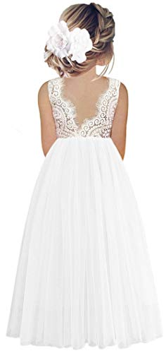 2Bunnies Girl Peony Lace Back A-Line Straight Tutu Tulle Party Flower Girl Dresses (White Sleeveless Maxi, 6)