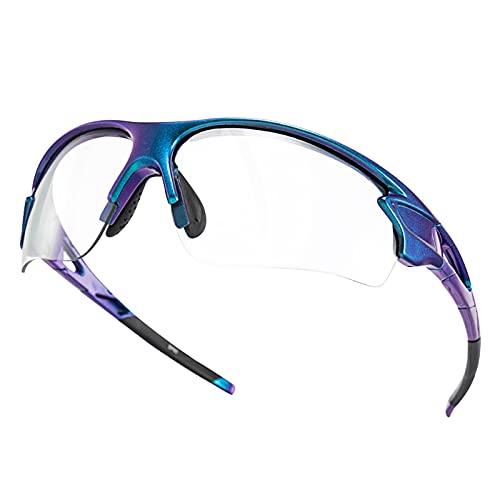 ROCKBROS Occhiali da Sole Ciclismo Sportivi PC Lenti Trasparenti Fotocromatiche UV400 Ultraleggero Unisex (Viola Gradiente)