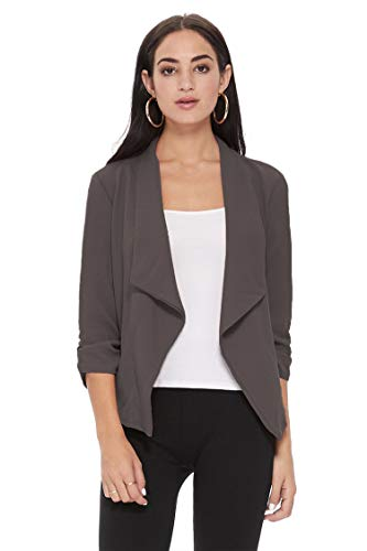 Solid Casual Draped Open Front 3/4 Sleeve Outerwear Blazer Jacket/Made in USA Charcoal L