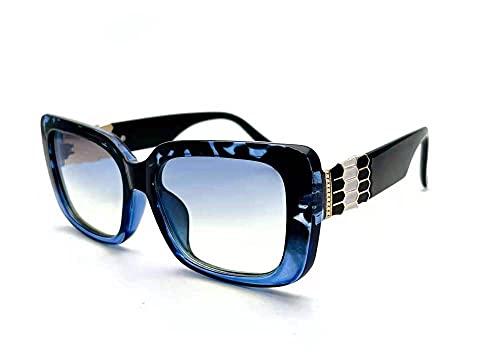 Gosunfly Gran caja de tendencia personalidad decoración de metal Gafas de sol retro europeas y americanas hombres-Marco azul negro en pieza azul