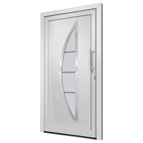 vidaXL Porte dEntrée Principale Sécurité Charnières Réglables 3D Serrure à Tête de Champignon à 5 Points Maison Extérieur Blanc 108x208 cm