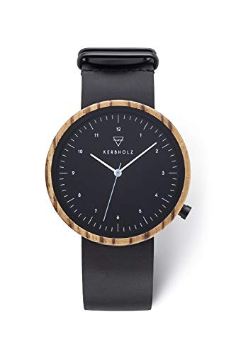 KERBHOLZ orologio in legno – Masterpieces Collection Heinrich, orologio analogico al quarzo, di alta gamma, da uomo, cassa di legno naturale e cinturino di vero cuoio, Ø 40mm