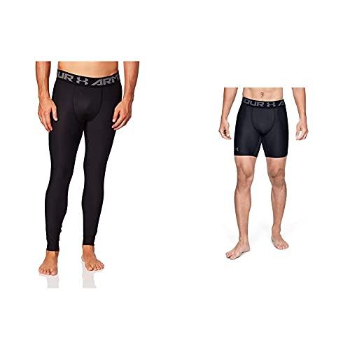 Under Armour Heatgear 2.0 Leggings, Hombre, Negro + Heatgear Armour 2.0 Comp Shorts, Pantalón Corto Hombre, Negro