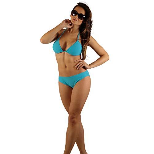 STANTEKS Damen Badeanzug Triangel-Bikini Zweiteiler Schwimmanzug Klassischer Bikini Schwimmbekleidung Neckholder-Bikini SK0030 (40, Blau)