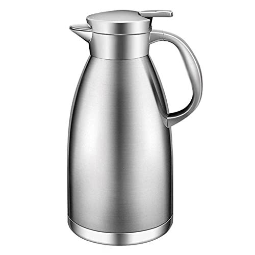 Daily Accessories Insulation Pot Home Stainless Steel Insulated Kettle Hot Water Kettle Thermos 1.8L (Color : Silver)