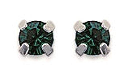 Pendientes unisex de plata 925/000 y esmeralda, 4 mm
