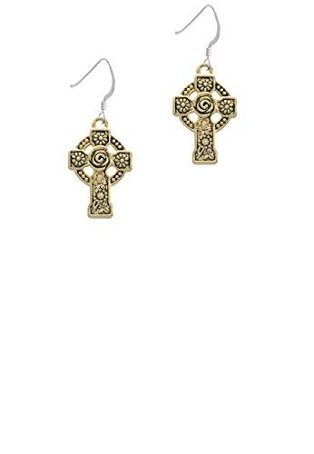 Goldtone Large Celtic Cross - French Earrings