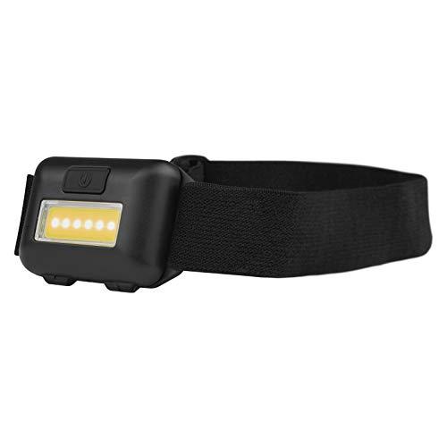 EMOS Mini Stirnlampe für Kinder mit 40 St. Leuchtdauer, COB LED Kopflampe mit Helligkeit 110lm, 15m Leuchtweite und 3 Lichtmodi, stoßbeständige Kopfleuchte, batteriebetrieben, Schwarz, P3537