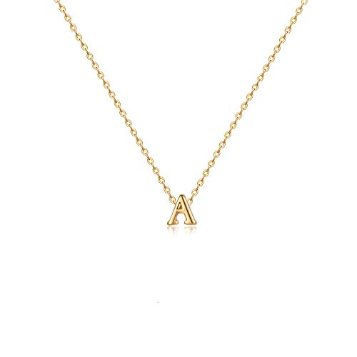 LOYATA Initial Necklace Gold Tiny Pendant 14K Gold Filled Dainty Chain Personalized Jewelry Gift for Women Letter A