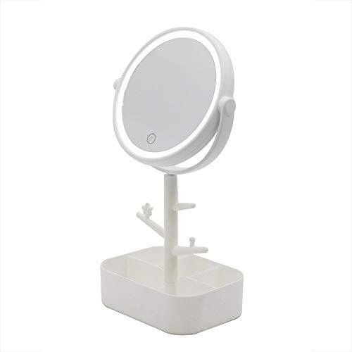 FAGavin Almacenamiento De Múltiples Funciones De Almacenamiento De LED Espejo De Maquillaje Inteligente con Luz De Relleno Luz Espejo De Vanidad Espejo Blanco Rosado (Color : White)