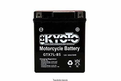 Batería moto Kyoto GTX7L-BS (YTX7L-BS) - Sin mantenimiento - 12 V 6 Ah - Dimensiones: 114 x 71 x 131 mm compatible con SUZUKI GZ250 Marauder 250 1999-2010