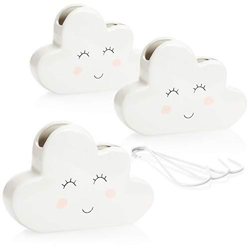com-four® 3X Luftbefeuchter Heizung - Heizkörper Luftbefeuchter Wolke - Heizung Wasserverdunster aus Keramik im lustigen Wölkchen Design - 300 ml