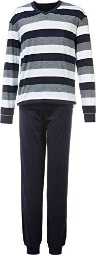 Schiesser Herren Schlafanzug lang mit Bündchen Zweiteiliger, Blau (Dunkelblau 803), Small (Herstellergröße: 048)