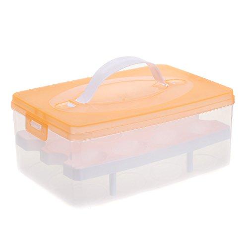 2 Layer Eierhalter für 24 Eier, Eierbehälter Transportbox mit Deckel & Clipverschluss, Eier Aufbewahrungsbox Lagerbehälter Vorratsbox EierBox für Transport, Kühlschrank Küche, Orange, TKD6101 orange