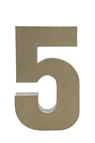 Décopatch AC425O Zahl 5 Fantasie aus Pappmaché, 5 x 19 x 30 cm, zum Verzieren, Kartonbraun