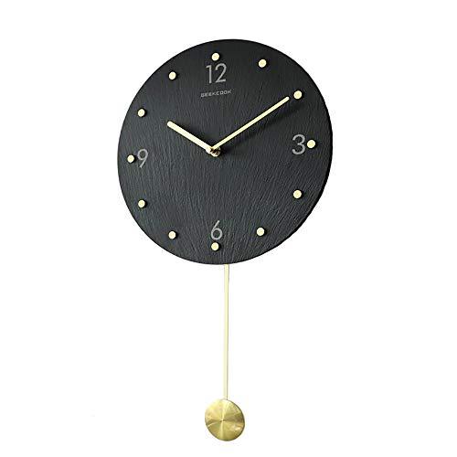 QAZ Movimiento De Relojes De Péndulo con Carillón Reloj De Péndulo De Escala De Latón De Piedra Pizarra Reloj De Pared Silencioso Sin Tictac Relojes De Pared con Decoración De Decoración (Size : C)