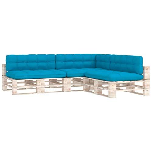 vidaXL Cojines para Sofá de Palets 7 Piezas Asiento Silla Respaldo Jardín Patio Balcón Terraza Exterior Suave Cómodo Decoración Azul
