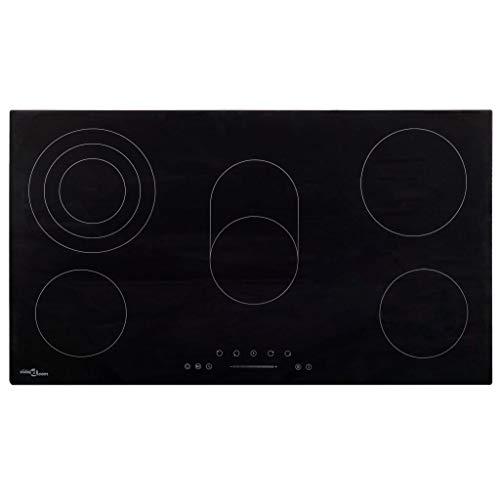 vidaXL Placa Vitrocerámica 5 Quemadores Control Táctil Cocina Inducción Eléctrica Empotrada Autosuficiente...
