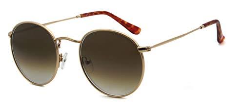 Global Glasses Gafas de sol de círculo de protección UV retro de metal redondas clásicas lentes de vidrio marrón degradado con marco dorado