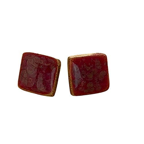 Unique Handmade Ceramic Stud Earrings for Women; Small Red Squares; Cute Jewellery Accessories; Gift for Her Mum Sister Girls Friends