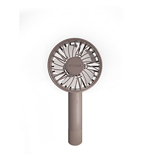 BYXAS Mini Handheld Portable Fan, Speed Adjustable Personal USB Cooling Fan, Rechargeable Battery Fan for Indoor Outdoor Office Travelling and Eyelash Style(Brown)