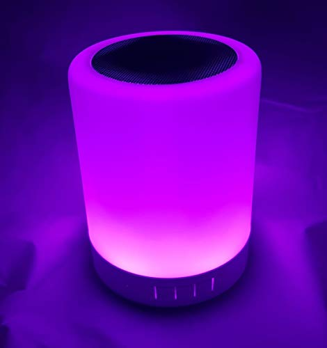 GIFTMarket | Altavoz Lámpara Radio Bluetooth Táctil con Luz LED de 6 Colores Intercambiable. Lámpara Noche con Luz Regulable en 3 niveles, Micro SD, Aux in.
