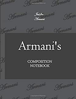 Armanis Composition Notebook: Initial letter A Just for Armani Dot Notebook Lovely Gift for Woman man Girl boy and Sc...
