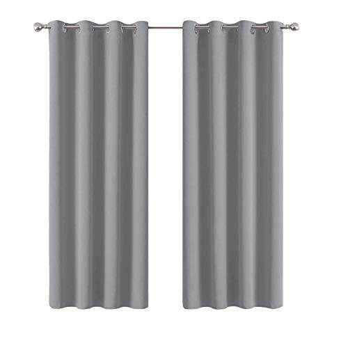 Kozzy Home – Juego de 2 cortinas opacas para ventana – Cortinas con ojales aislantes térmicos, muy suaves, decoración para habitación (gris claro, 2 x 55 x 73 / 140 x 185 cm)