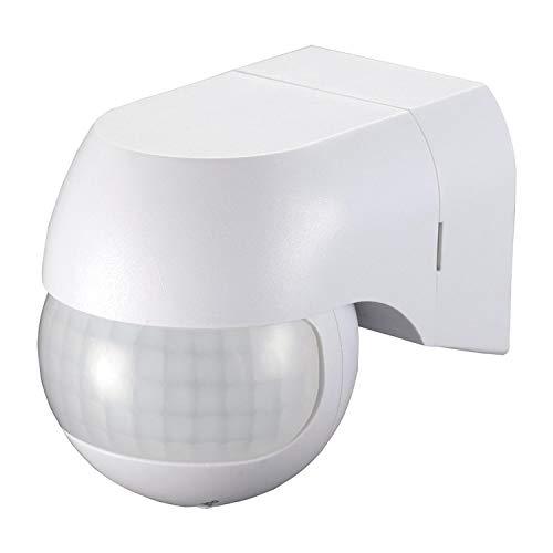 PS-TECH Rilevatore di movimento da parete esterno IP44, interruttore adatto per luce LED, sensore con copertura di presenza 180° fino a 12 m a 2,5 m di altezza, termper 10 sec-15 min