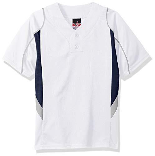 Alleson Athletic Youth Baseballtrikot, Jungen, Baseball-Trikot für Jugendliche, Weiß/Marineblau/Grau, Large
