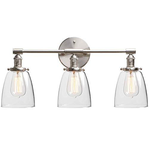 Plafondlamp Wandlamp, Vintage Spiegel van de Badkamers Licht van de Muur, met schakelaar, drie helder glas Lampekap, Industrial Indoor 3-Lights E27 Licht van de Muur