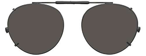 Visionaries Polarized Clip on Sunglasses - Round - Black Frame - 50 x 45 Eye Size